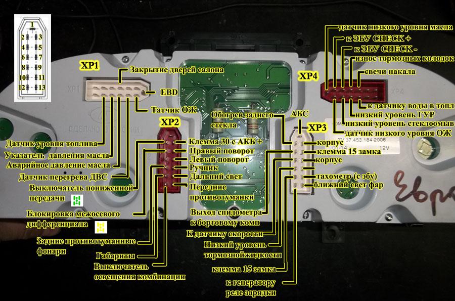 Комбинация приборов ГАЗ нового образца 385.3801-10 назначение контактов, распиновка