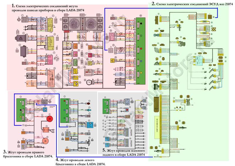 Схема электрооборудования ваз 21074 инжектор