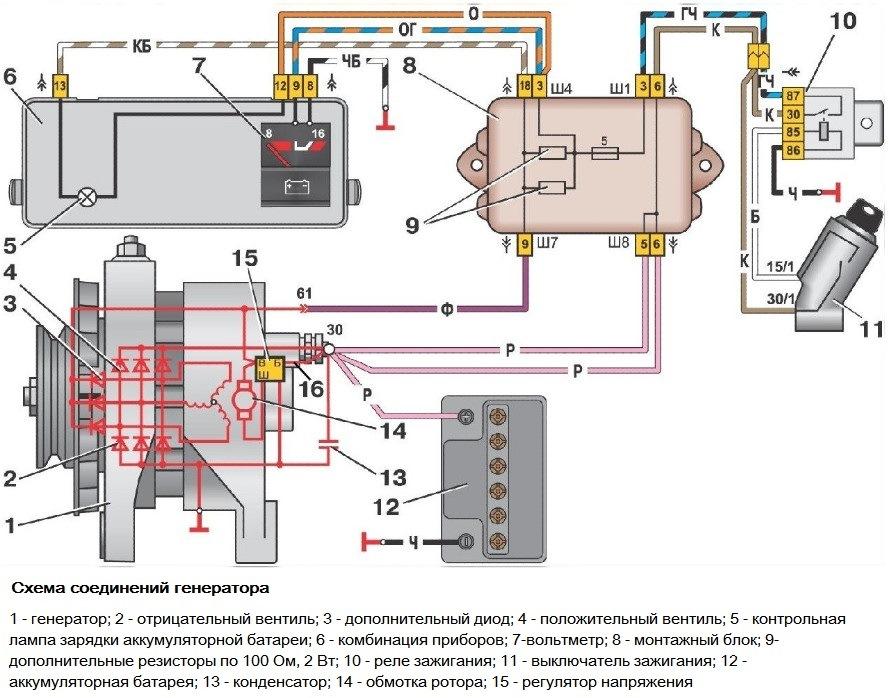 Ваз 2109 инжектор схема генератора