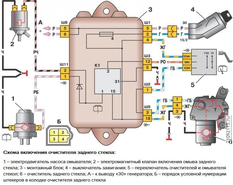 Схема омывателя задка Лада Самара