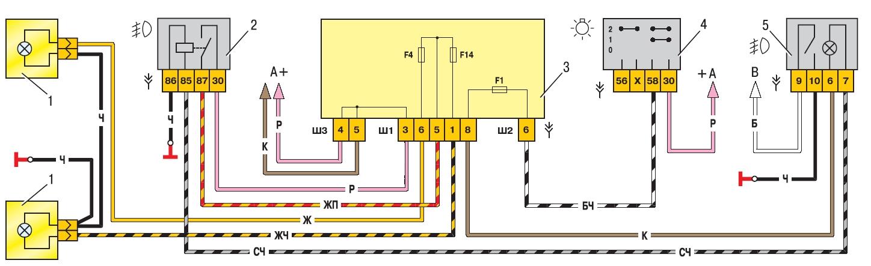 Схема подключения фар через реле газель