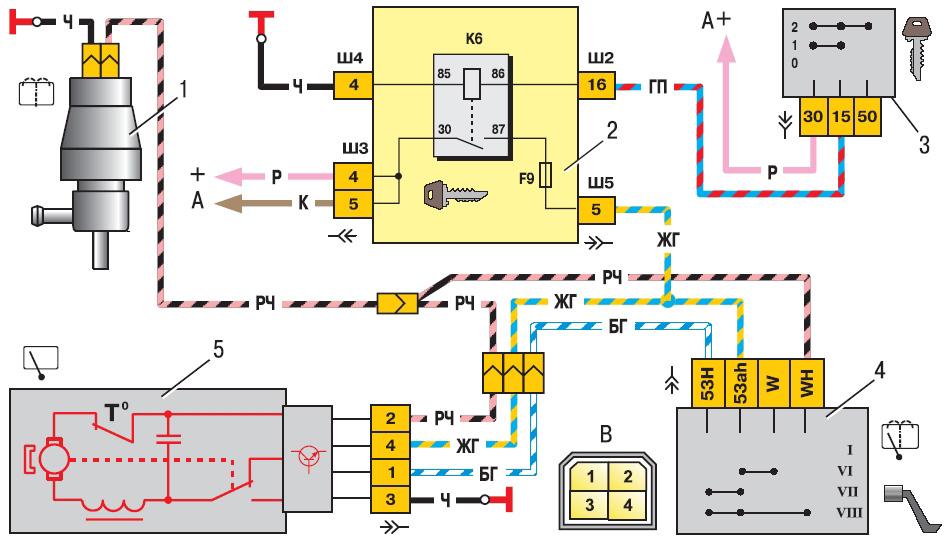 Схема заднего стеклоочистителя и омывателя ВАЗ-2110, 2111, 2112.