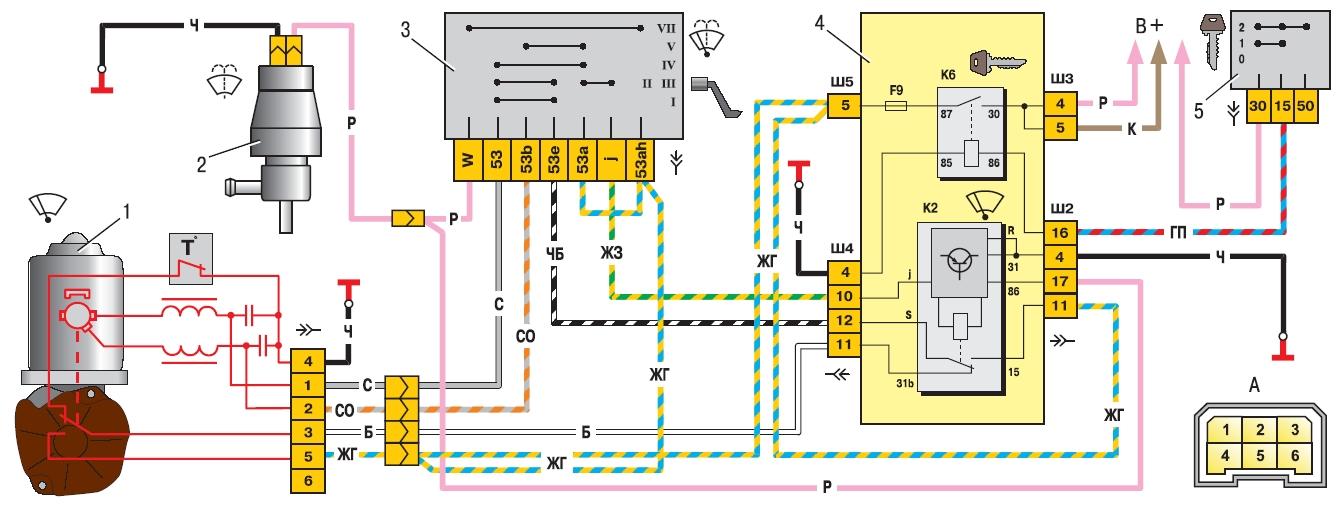 Схема переднего стеклоочистителя ВАЗ-2110, 2111, 2112.