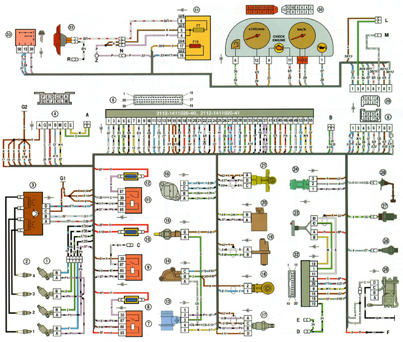 Схема системы управления двигателем (ЭСУД) c контроллером Январь 5.1 или M1.5.4N