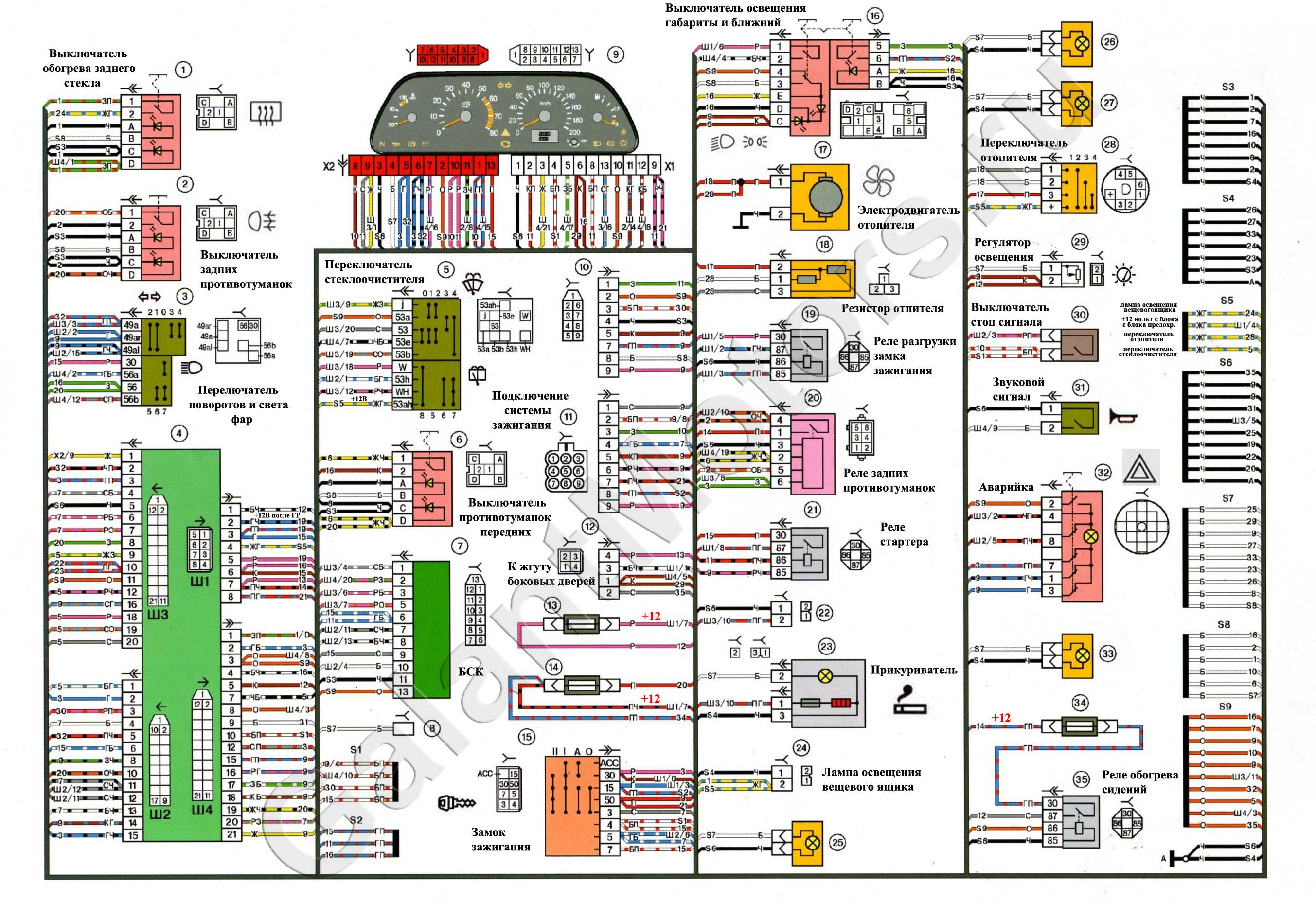 схема расположения штекеров в монтажном блоке 2114