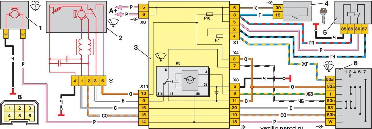 Ваз 2114 инжектор электрическая схема омывателя