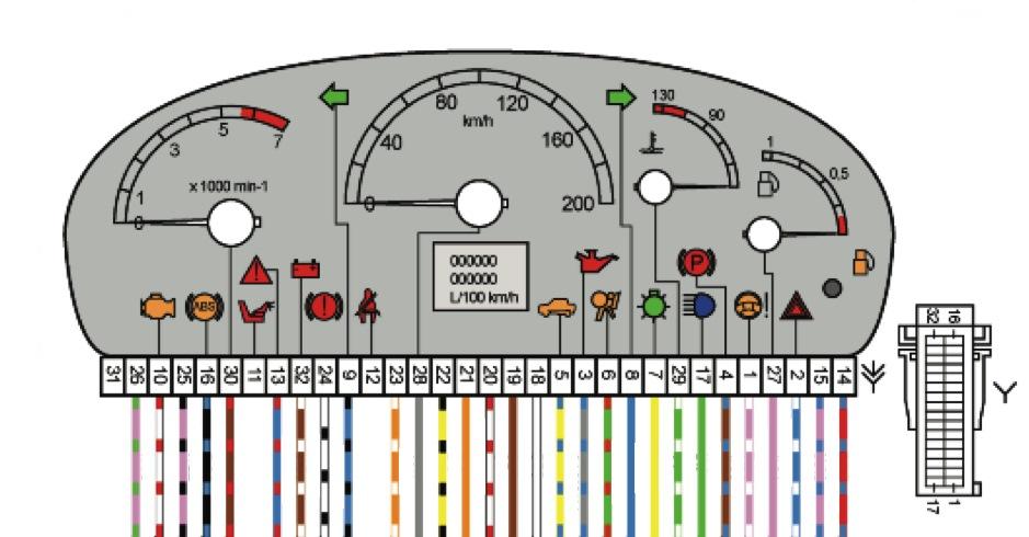 Распиновка панели приборов (щитка) ВАЗ-2170, 71, 72 Приора