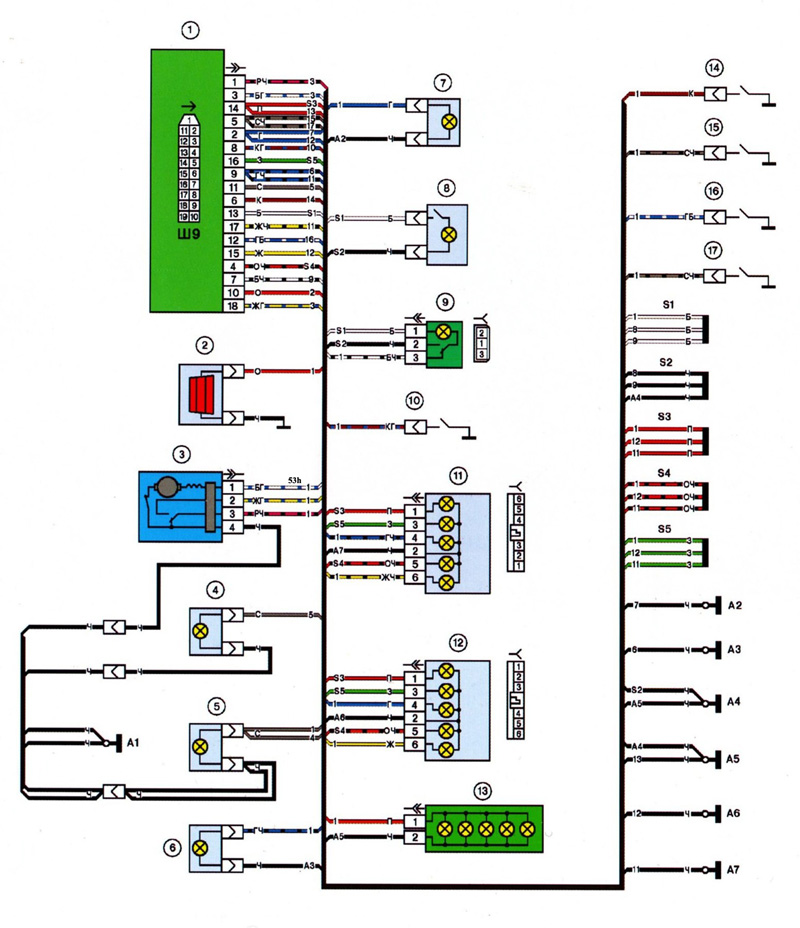 2114 shema electrik back small - Схема подключения датчика температуры ваз 2114