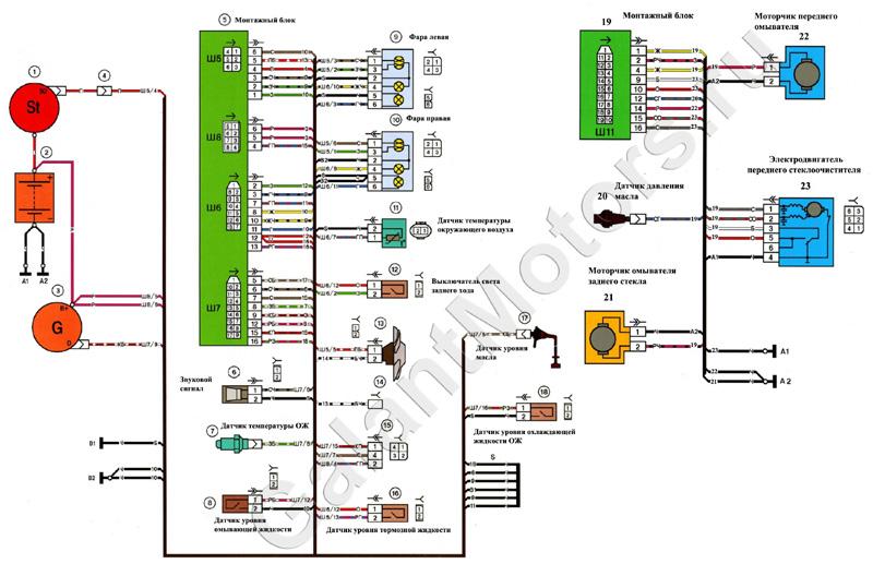 2114 shema electrik front small - Схема подключения датчика температуры ваз 2114