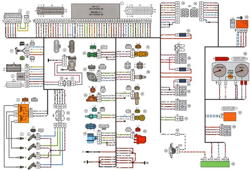2114 system esud J72 2111 small - Схема подключения датчика детонации ваз 2114
